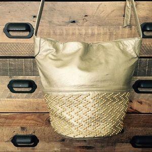 Vintage Gold Beaded Bucket Bag